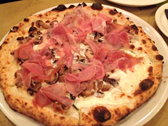 Del Re - $18  Fresh Mozzarella, Pecorino Sardo Truffle Spread, Mushrooms,Prosciutto di Parma, Fresh Basil, EVOO