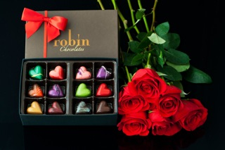 Robin Chocolates Valentines 12 Piece Box