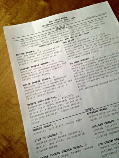 Cider House Menu